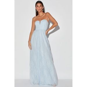 NEW Lulu's Baby Blue Lace Tulle Maxi Dress